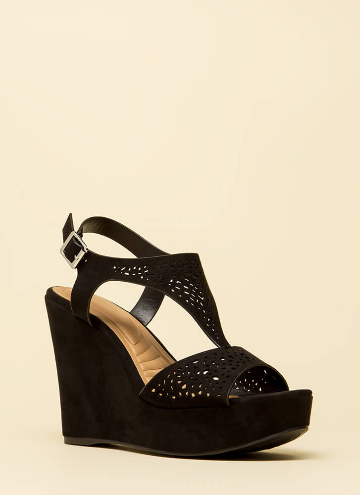 Intricate Plot Cut-Out Platform Wedges BLACK (Final Sale)