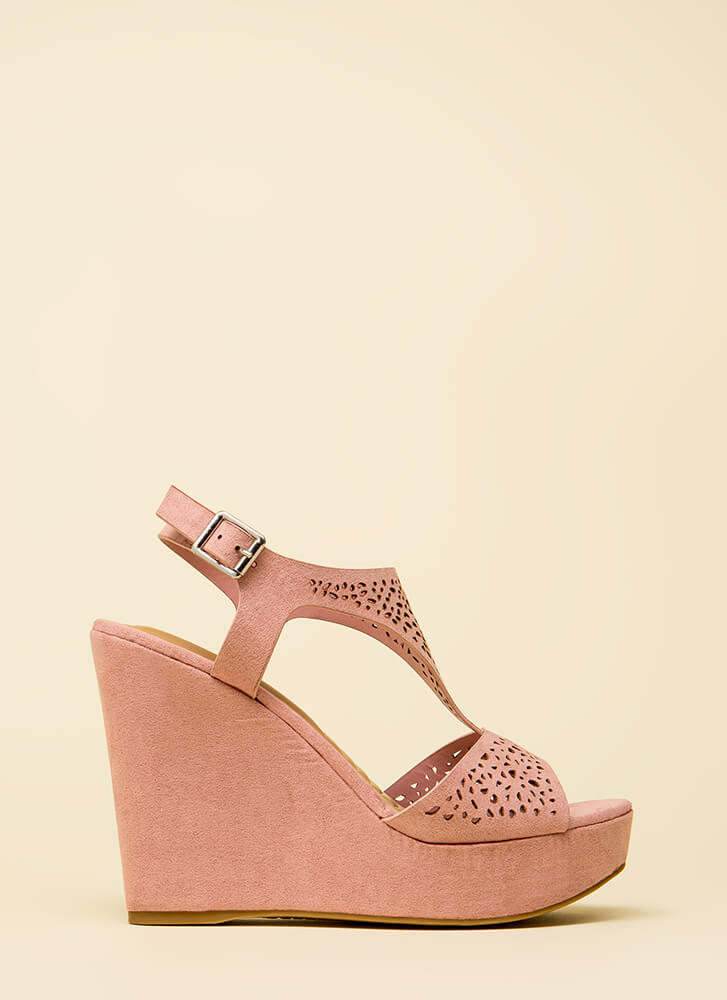 Intricate Plot Cut-Out Platform Wedges MAUVE (Final Sale)