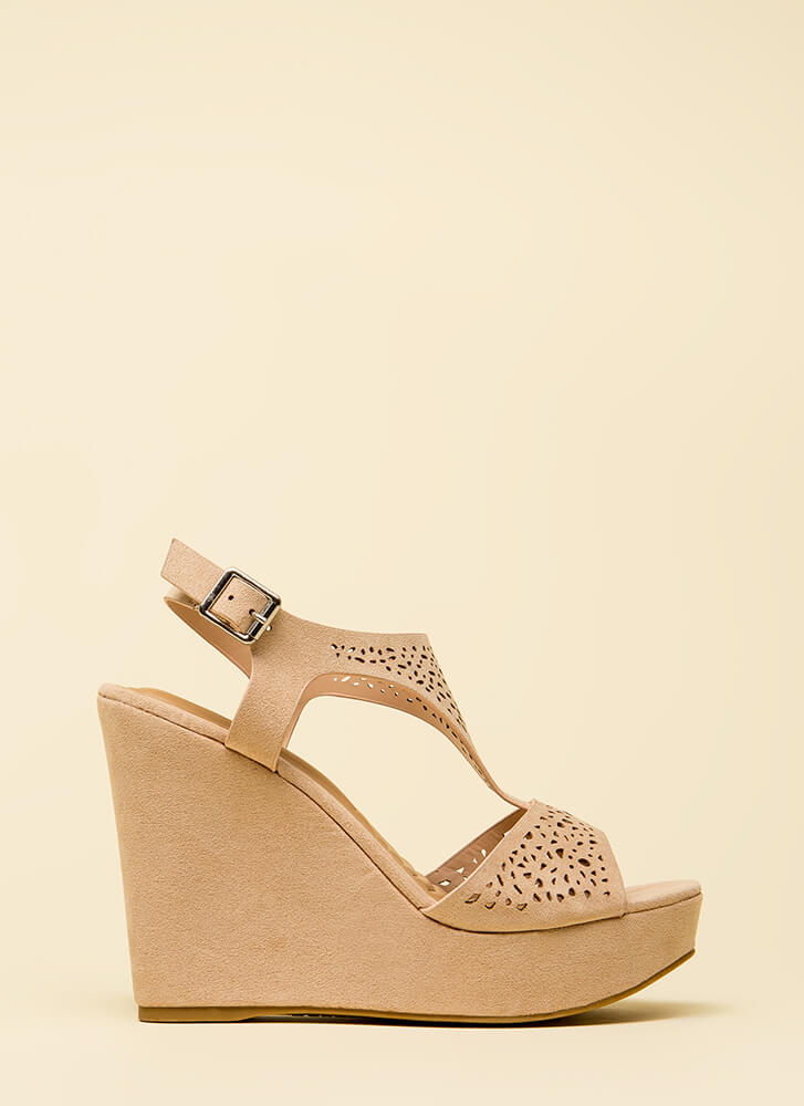 Intricate Plot Cut-Out Platform Wedges NUDE