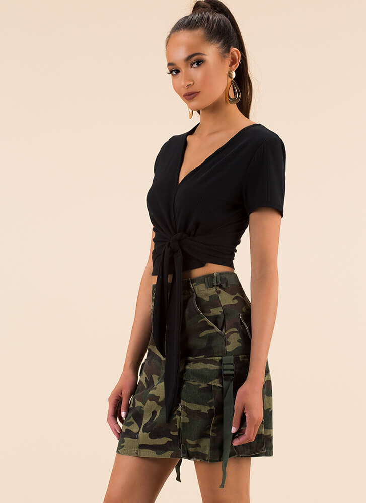Perfect Look Tied Wrapped Crop Top by Go Jane