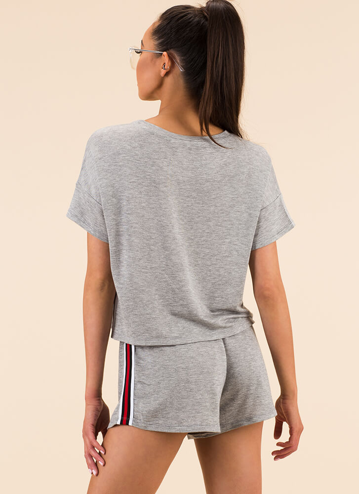 Gym Class Heroine Striped Trim Top HGREY