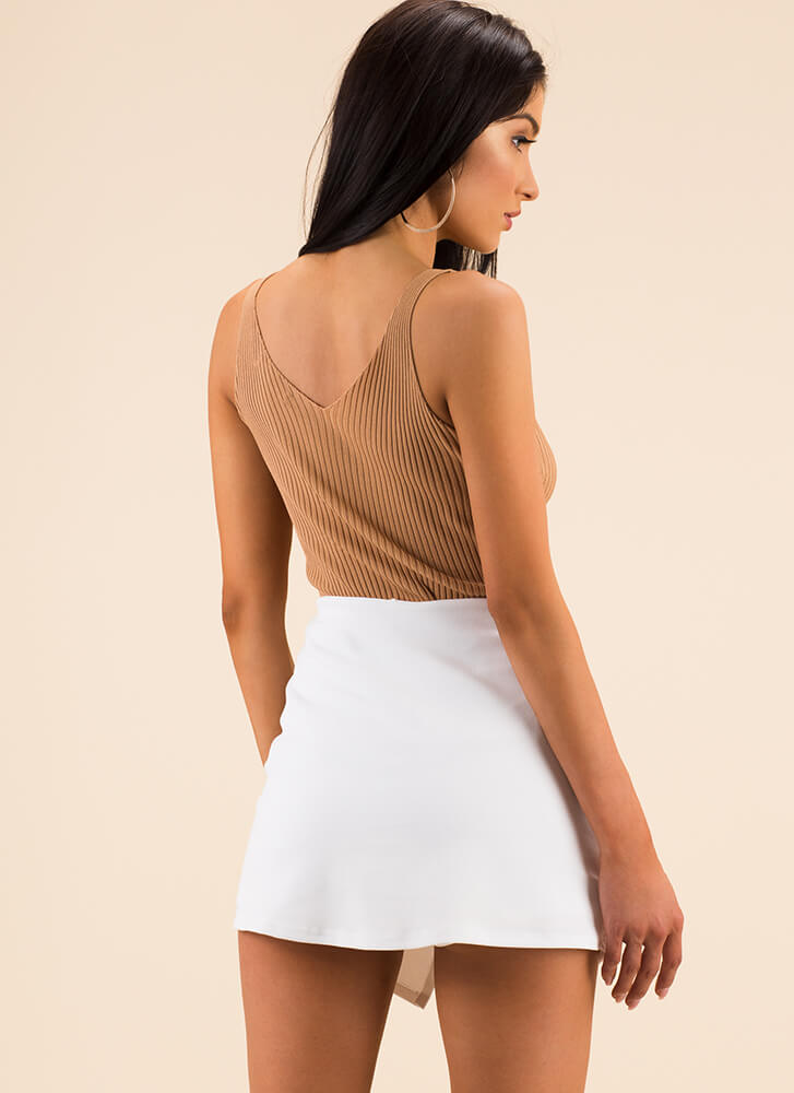 Sleek And Chic Rib Knit Tank Top TAUPE