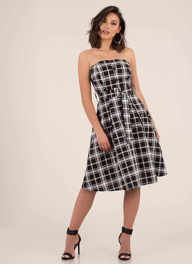 Pretty In Plaid Strapless Flared Dress BLACK