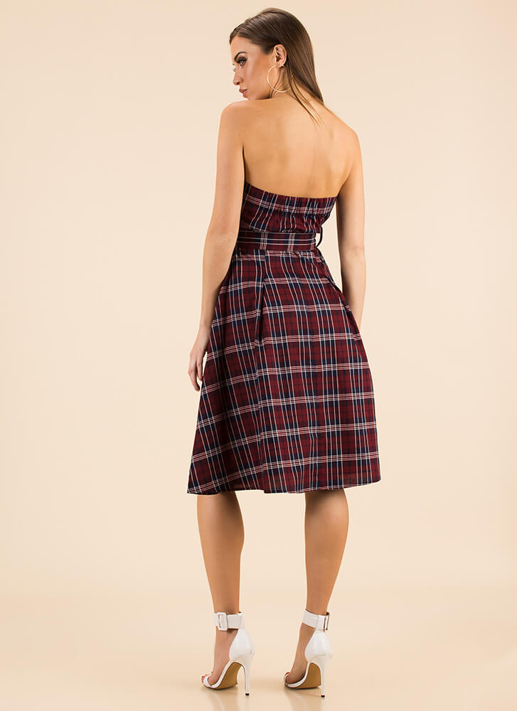 Pretty In Plaid Strapless Flared Dress BURGUNDY