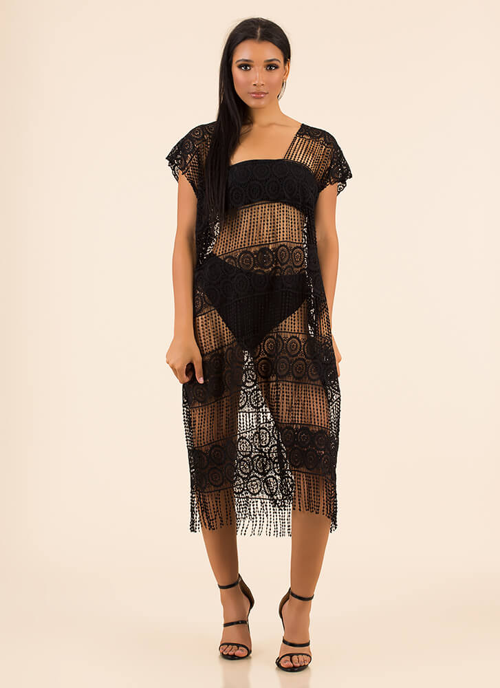 Flapper Party Fringed Swim Cover-Up BLACK