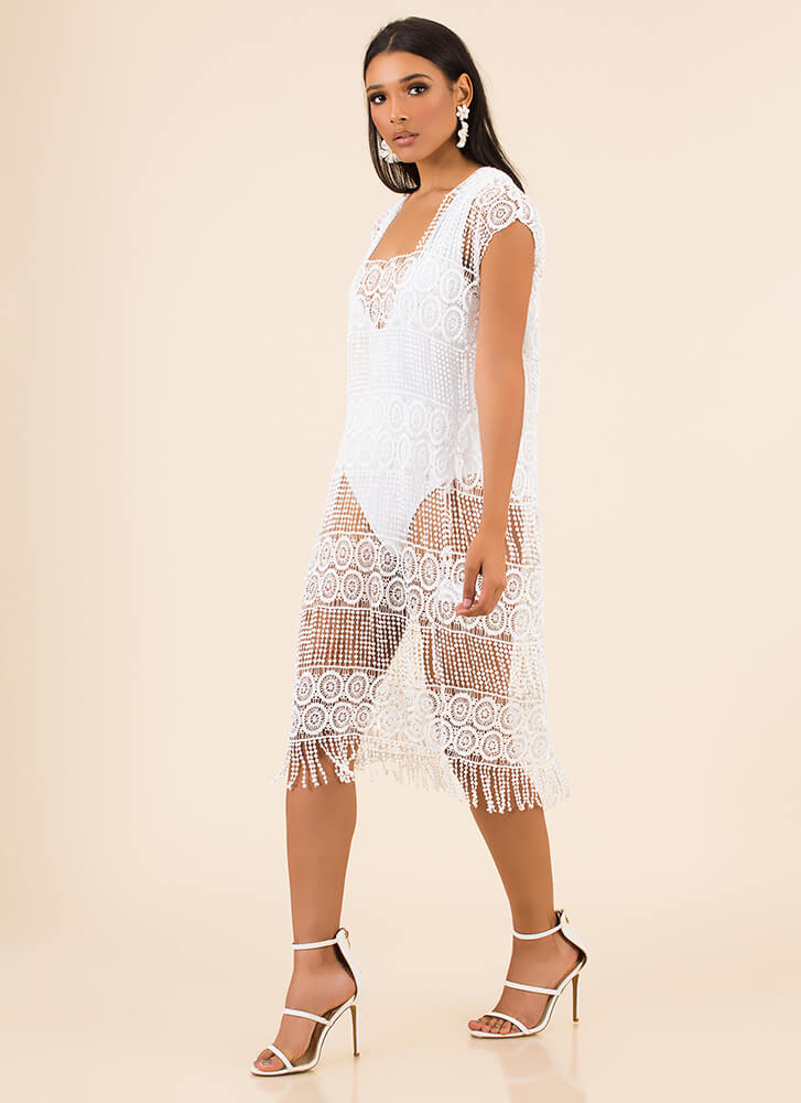Flapper Party Fringed Swim Cover-Up WHITE