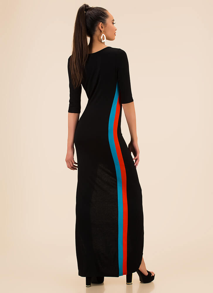 On My Side Striped Asymmetrical Maxi BLACKMULTI
