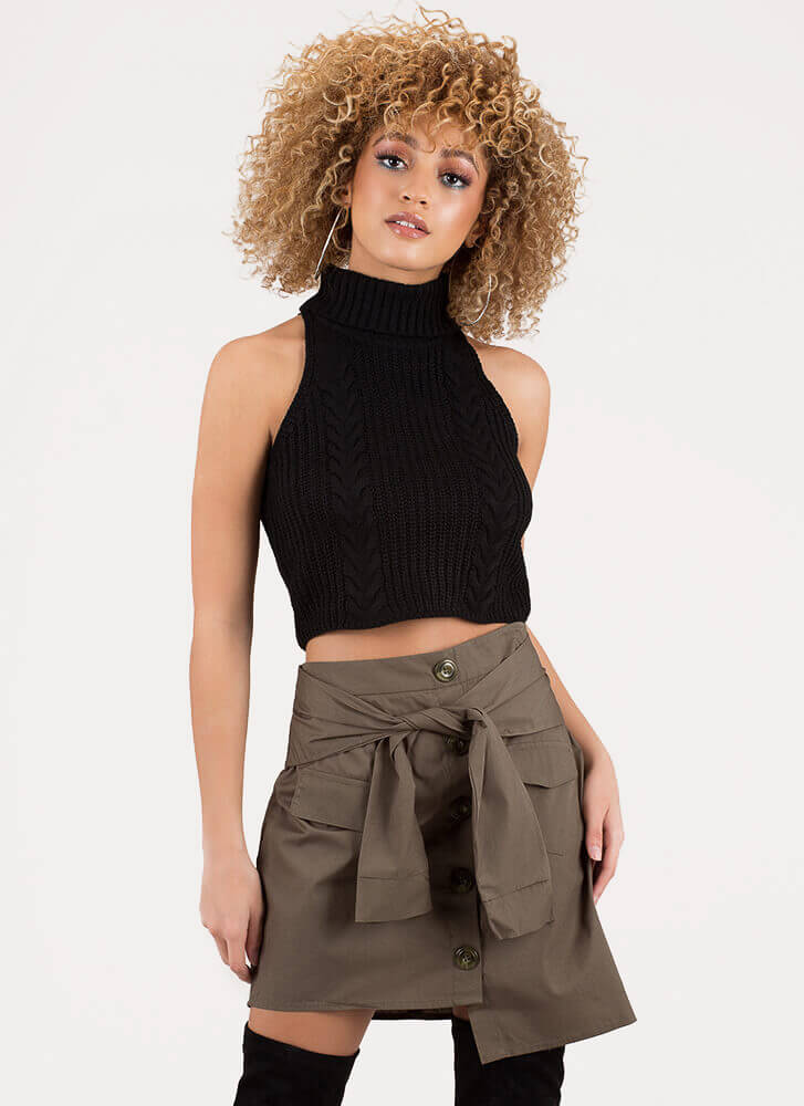 Sleeve An Impression Buttoned Skirt OLIVE