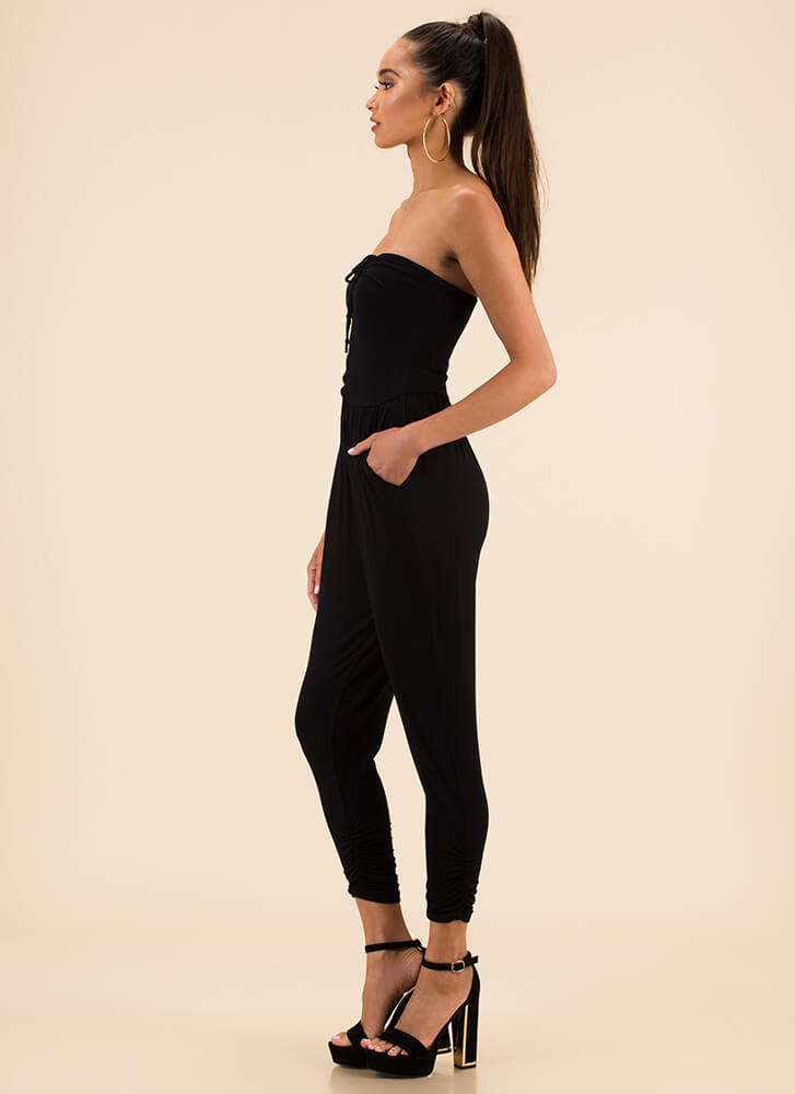In And Out Strapless Harem Jumpsuit BLACK