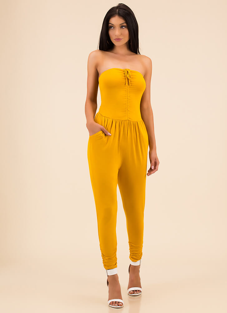 In And Out Strapless Harem Jumpsuit MUSTARD