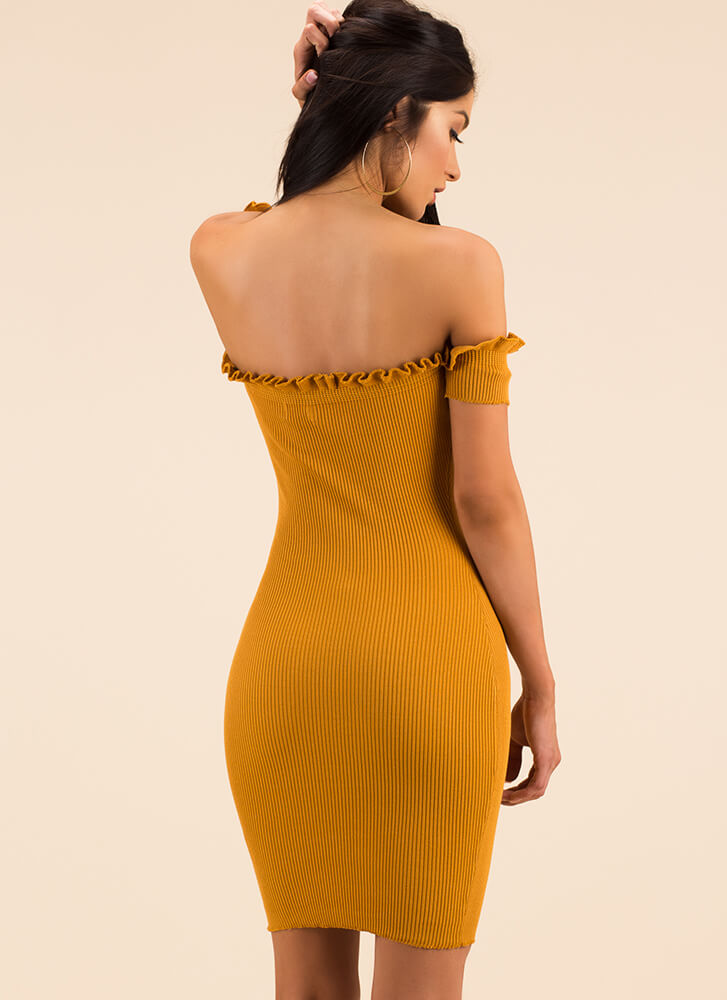 Frilling Night Off-Shoulder Ruffle Dress MUSTARD