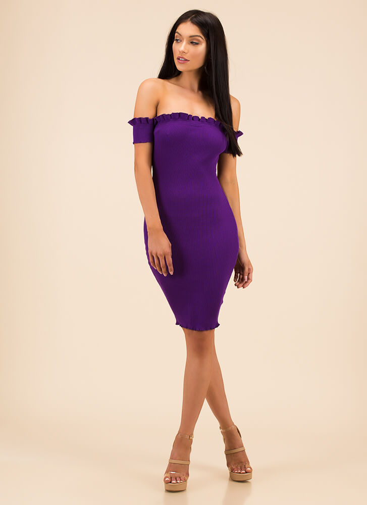 Frilling Night Off-Shoulder Ruffle Dress PURPLE