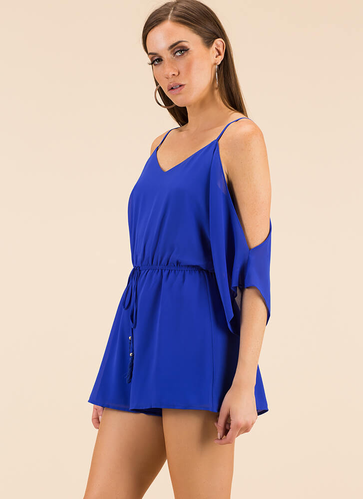 Go With The Flow Cold-Shoulder Romper BLUE (You Saved $19)