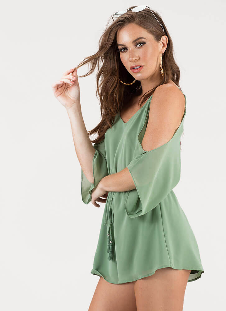 Go With The Flow Cold-Shoulder Romper GREEN
