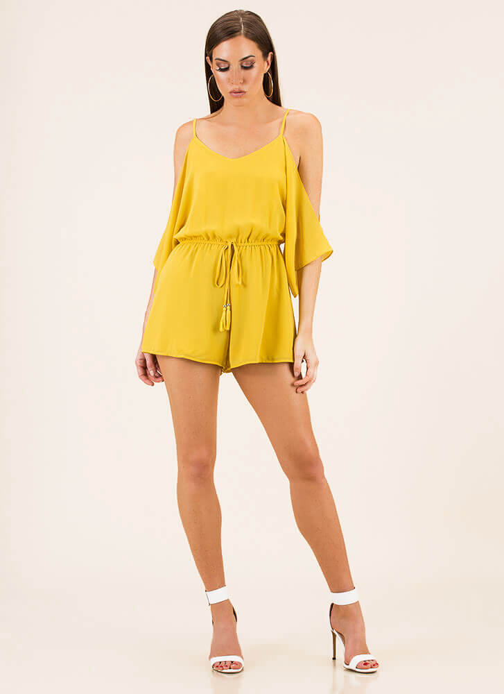 Go With The Flow Cold-Shoulder Romper MUSTARD