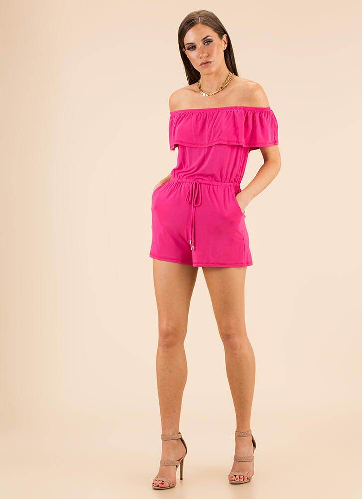 Play For Keeps Off-Shoulder Romper FUCHSIA