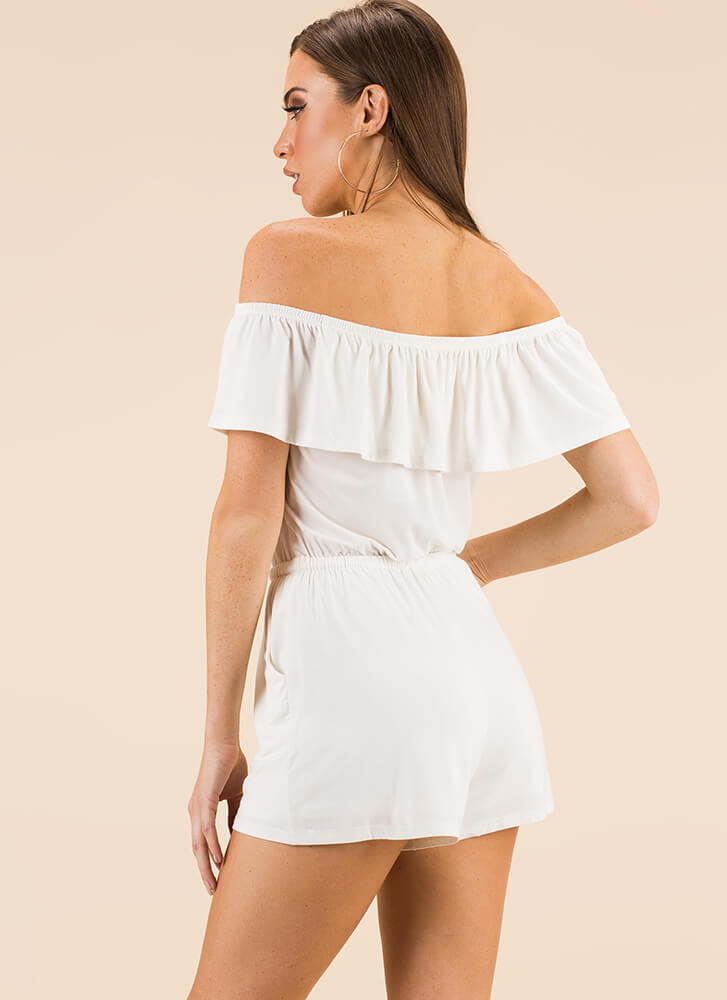 Play For Keeps Off-Shoulder Romper WHITE