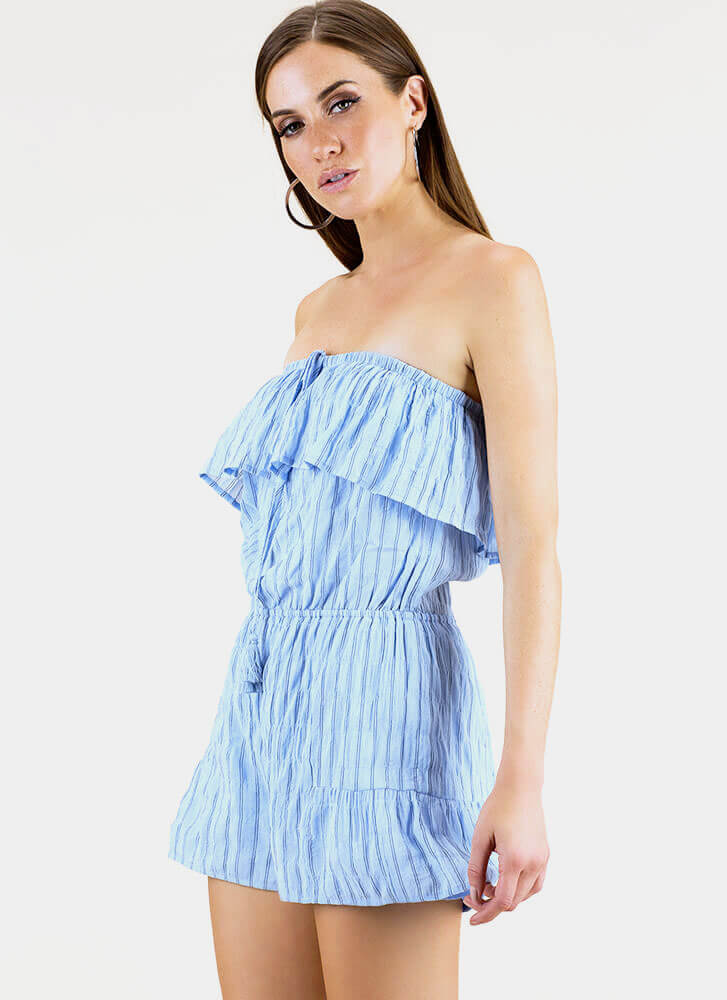 One And Gone Strapless Pinstriped Romper BABYBLUE