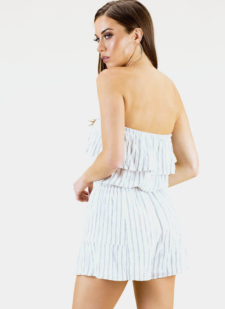 One And Gone Strapless Pinstriped Romper WHITE