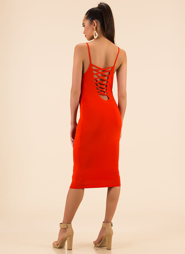 We're Bringing Strappy Back Midi Dress RED