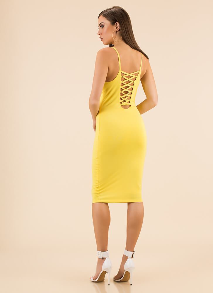 We're Bringing Strappy Back Midi Dress YELLOW