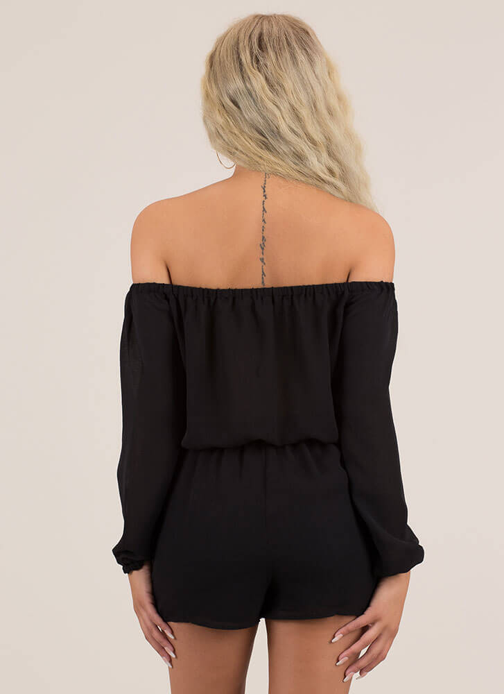 Not A Problem Off-Shoulder Romper BLACK