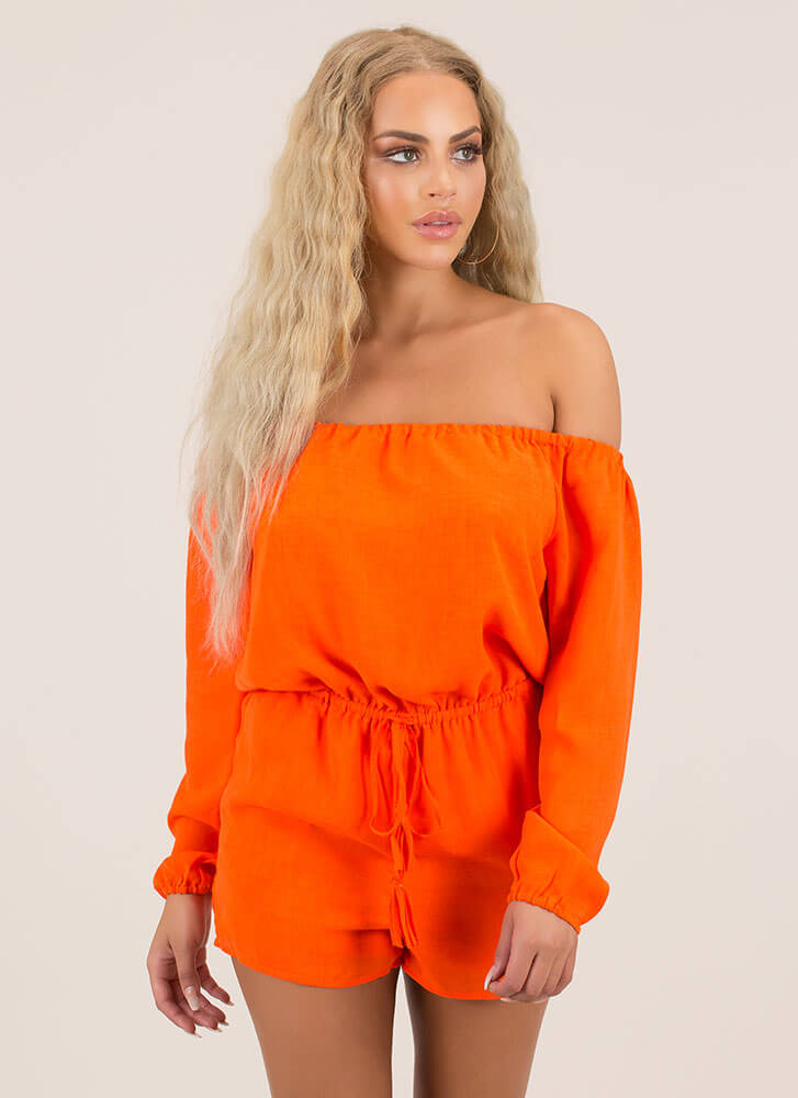 Not A Problem Off-Shoulder Romper CARROT