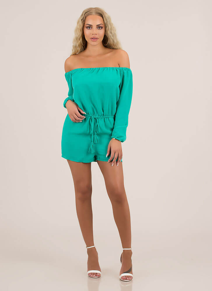 Not A Problem Off-Shoulder Romper EMERALD