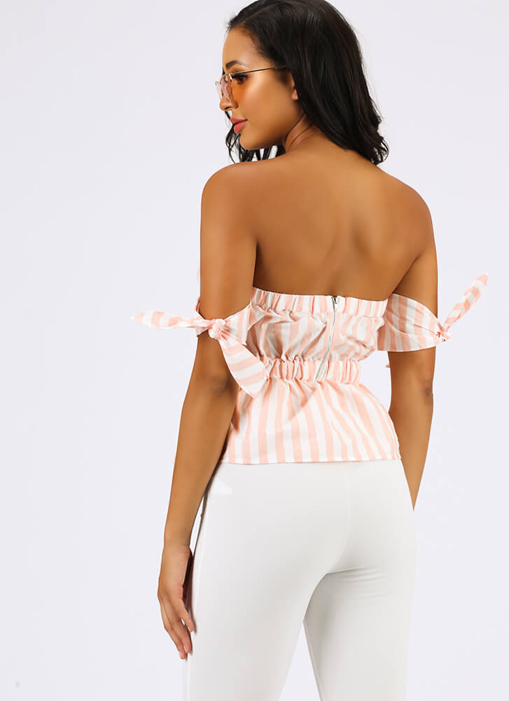 Play Along Striped Off-Shoulder Top PEACH