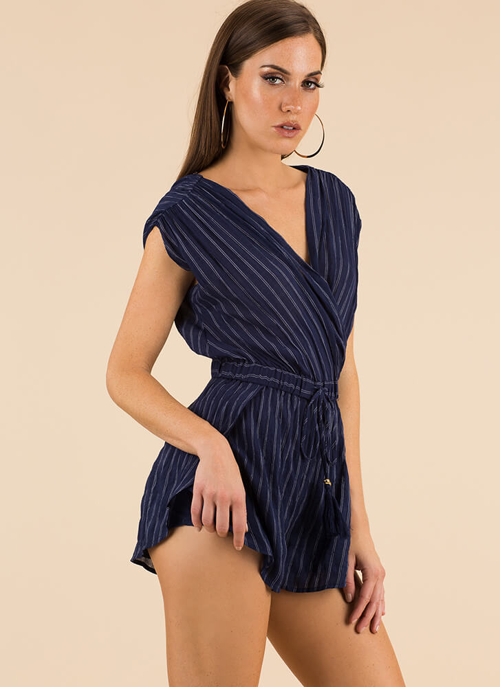 I Wake Up Like This Pinstriped Romper NAVY