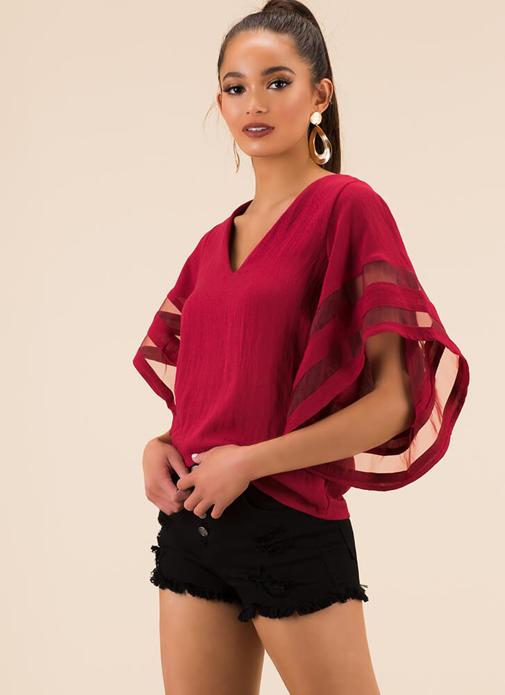 Flare For The Dramatic Mesh Stripe Top RED