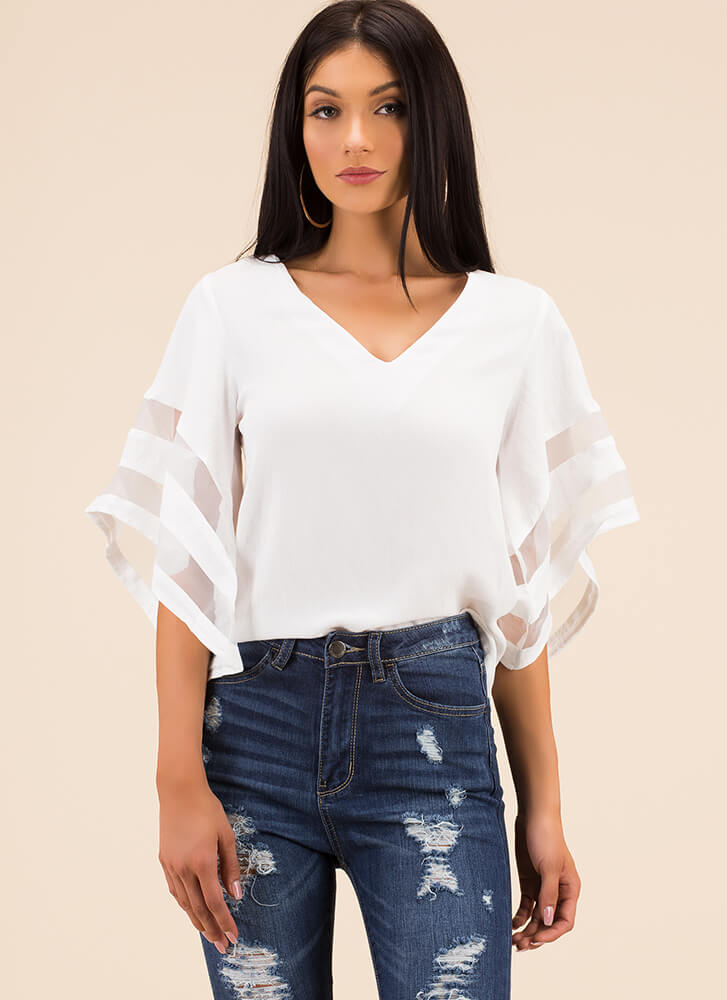 Flare For The Dramatic Mesh Stripe Top WHITE