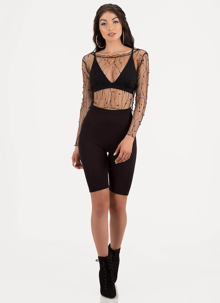 Sheerly Stunning Beaded Lace Crop Top BLACK