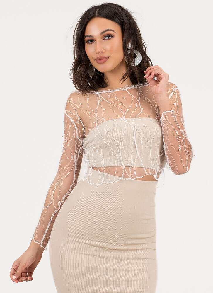 Sheerly Stunning Beaded Lace Crop Top WHITE