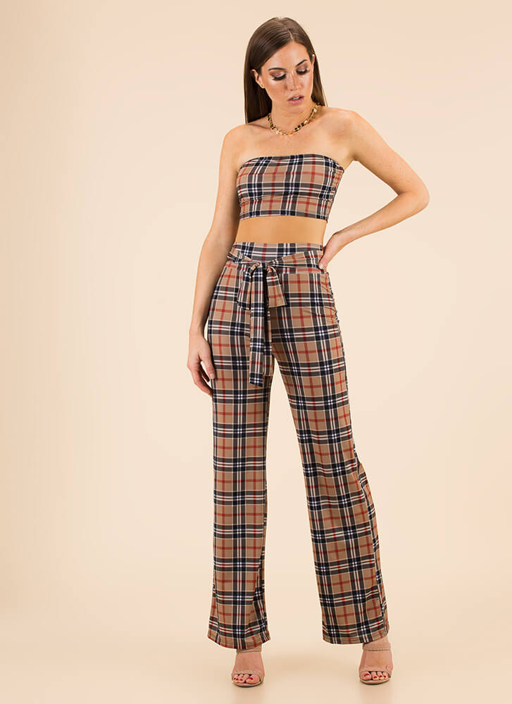 Plaid Influence Tube Top And Pant Set BROWNMULTI