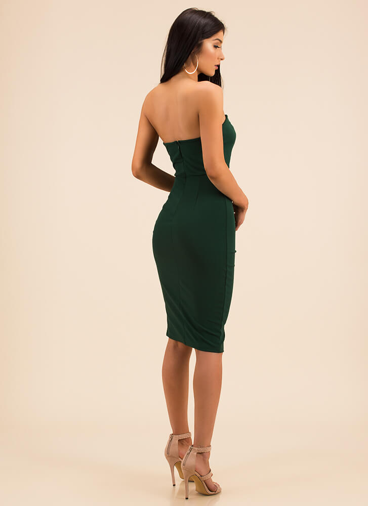 Date Night Strapless Lace-Front Dress HGREEN