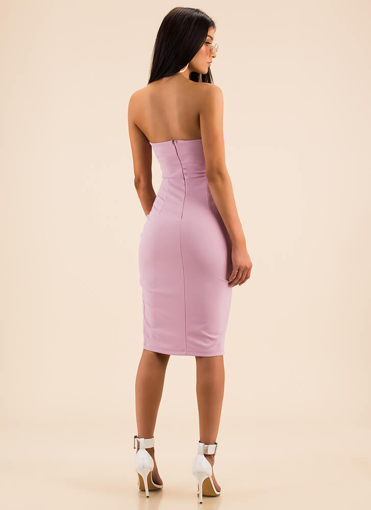 Date Night Strapless Lace-Front Dress MAUVE