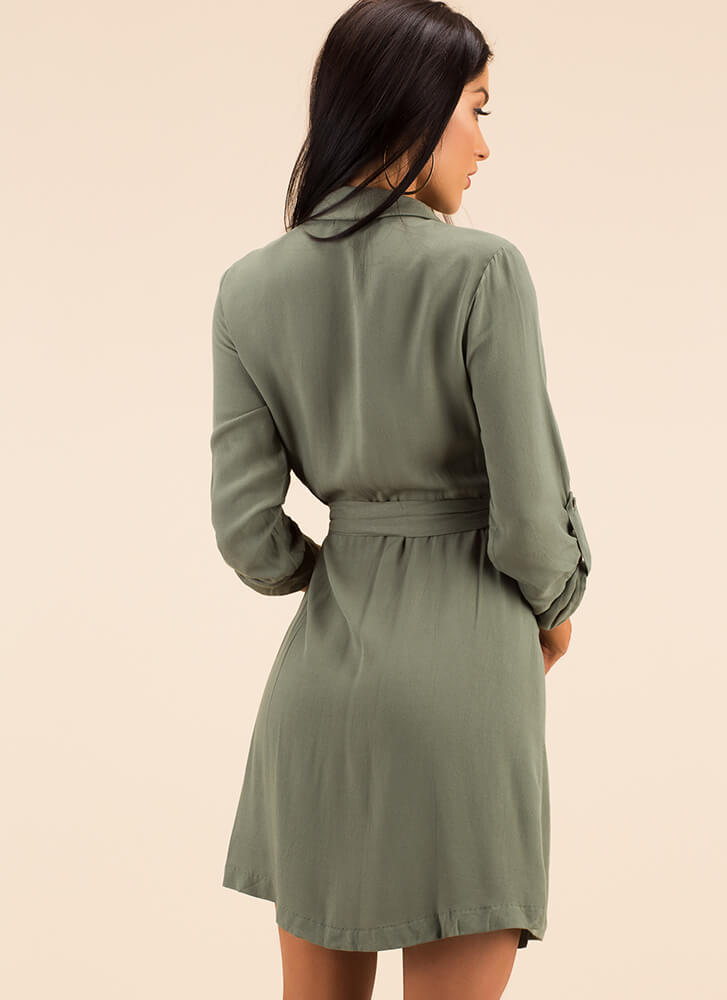 Proper Introduction Wrapped Shirt Dress OLIVE