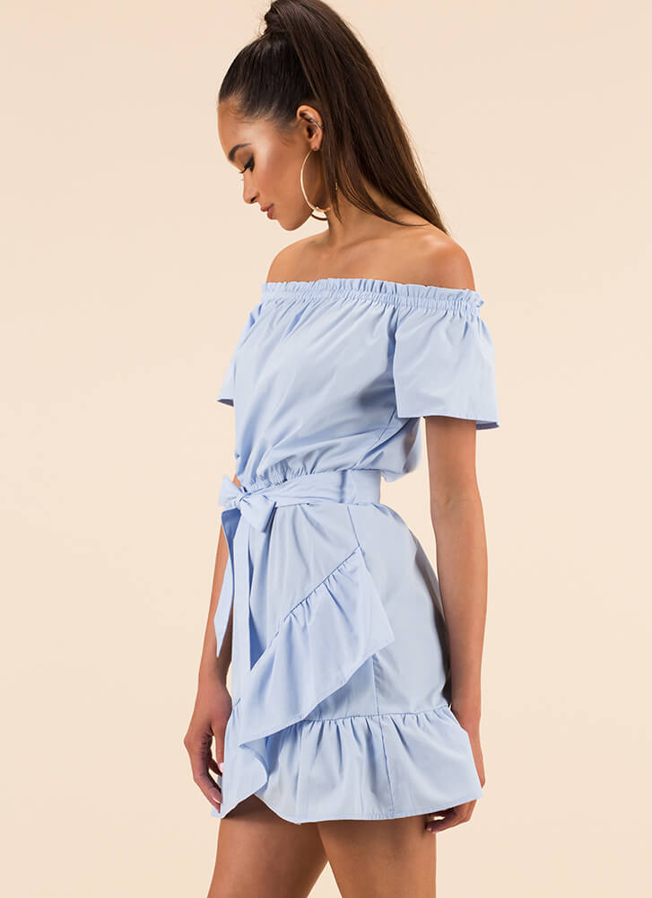 Bows And Ruffles Off-Shoulder Dress LTBLUE