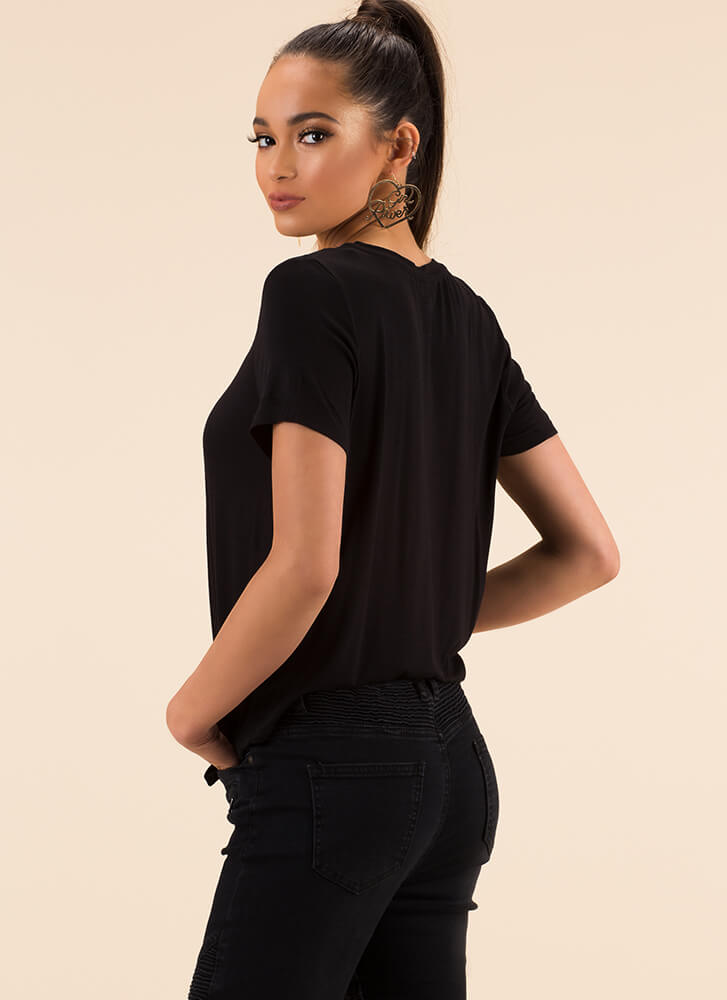 Knot Going Anywhere Tie-Front Top BLACK
