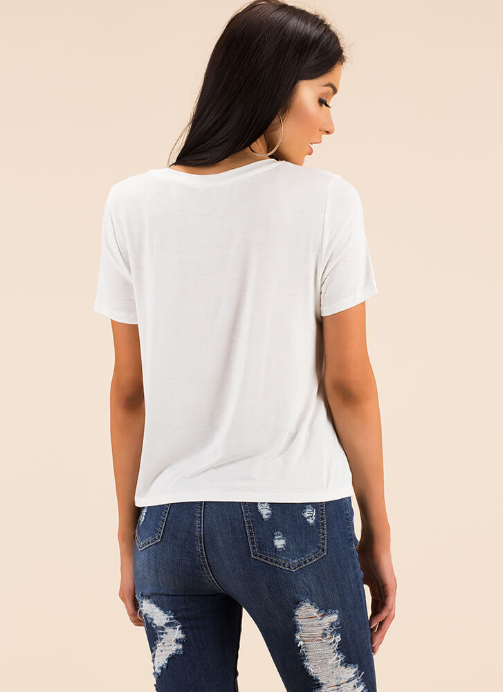 Knot Going Anywhere Tie-Front Top WHITE