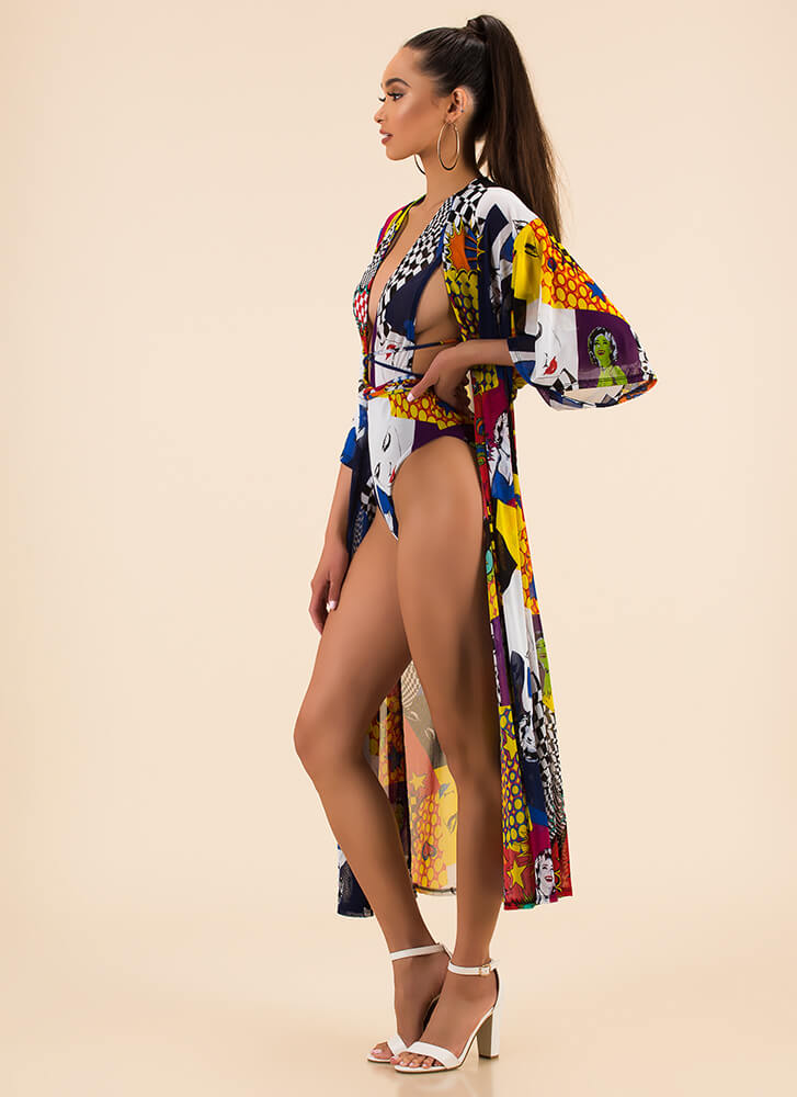 Print-cess Swimsuit And Duster Set MULTI