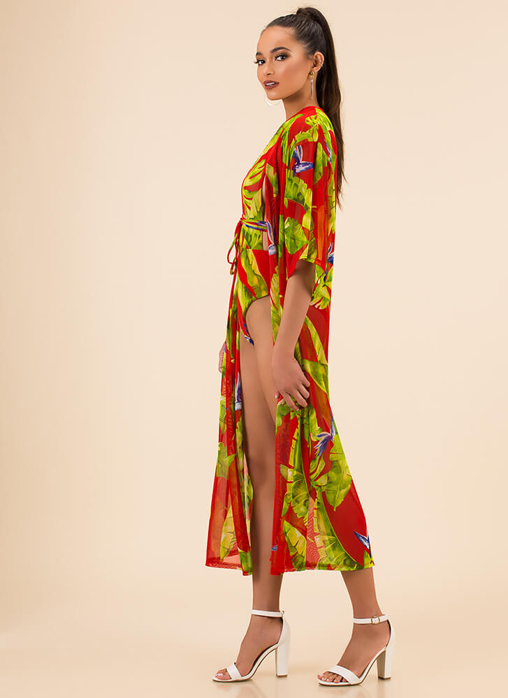 Print-cess Swimsuit And Duster Set RED