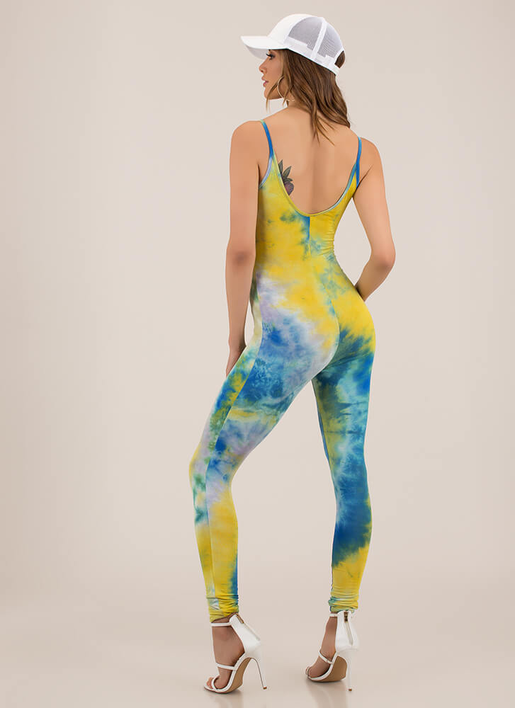 15b2ca8abee8 It Felt Like A Dream Tie-Dye Jumpsuit BLUEYELLOW - GoJane.com