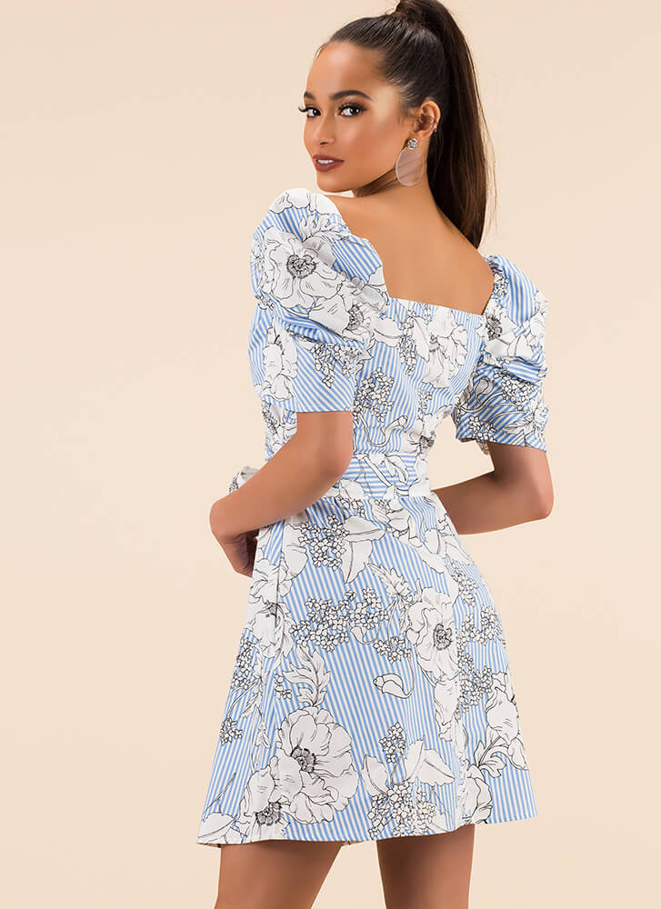 Fresh And Floral Pinstriped Dress BLUE
