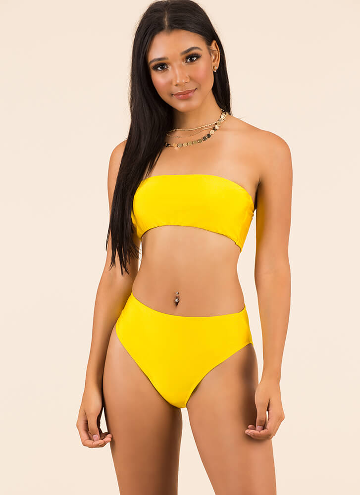 Keep It Simple Bandeau Bikini Set YELLOW
