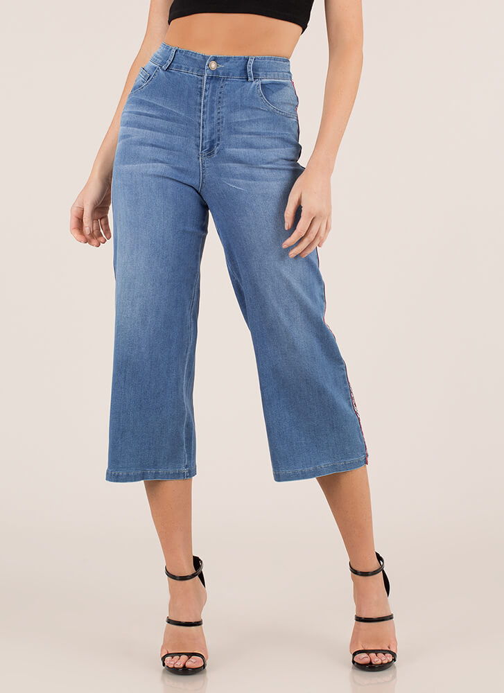 Check This Out Flared Cropped Jeans BLUE