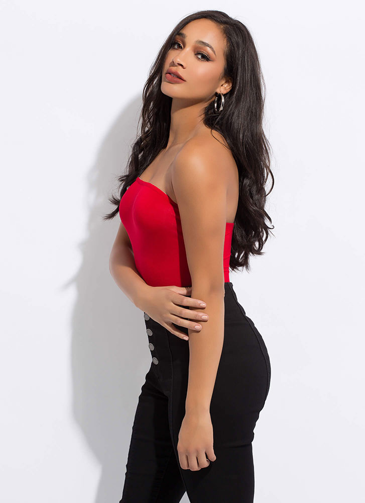 Under My Skin Strapless Bodysuit RED
