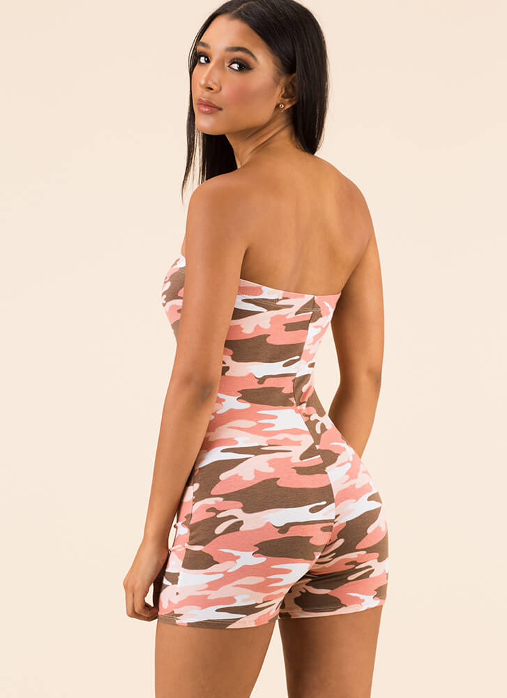 High Ranks Strapless Camo Romper PINK (You Saved $11)