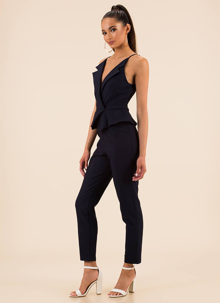 Well-Suited Blazer-Front Jumpsuit NAVY